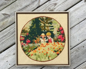 ON SALE Embroidery Needle Work Wall Hanging Childs Room Kids Room Decor Little Boy Little Girl