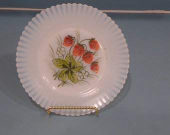 Depression Glass Petalware Salad Plate with Handpainted Strawberries