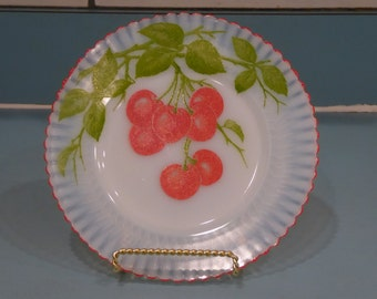 Depression Glass Petalware Salad Plate with Cherries, Fired On Red Trim