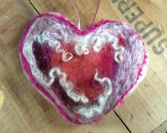 Needle Felted Valentine's Day Heart Ornament