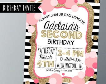 Printable Birthday Party Invitations - Gold, pink, black and white - Birthday Party Invitations - Printable
