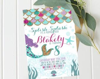 Mermaid Invitations - Mermaid Birthday Invitation - Teal Purple Gold Mermaid Invitation Under The Sea Invitation Mermaid Birthday Party