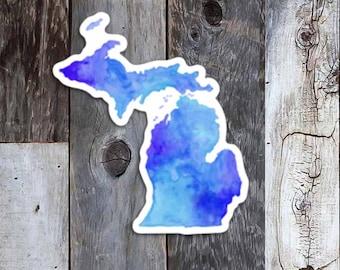 Michigan Blues, Michigan Sticker, Michigan Bumper Sticker, Michigan Decal, Michigan watercolor, Michigander, Gift from Michigan, TheBigLake
