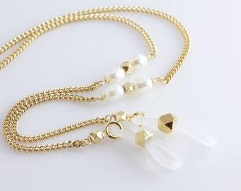 Pearl Gold Eyeglass Chain, Pearl Eyeglass Necklace, Gold Glasses Chain, Eyeglass Holder Chain, Designer Eyewear Chain, Gifts for Her,lanyard