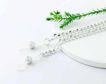 Silver Curb Eyeglass Chain, Silver Eyeglass Necklace, Eyeglass Lanyard, Eyeglass Holder Necklace, Silver Glasses Chain, Designer Eyewear