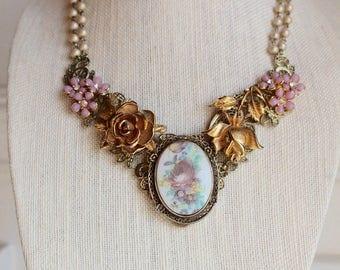 Rose Flower Cameo necklace Victorian vintage rhinestone Enamel floral Gold Purple Bouquet OOAK Whimsical assemblage repurposed Brooch Pearl