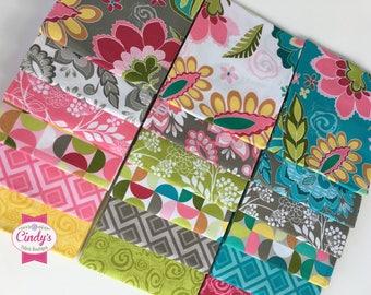 Fantine by Lilla Tueller Riley Blake Designs  FQ Fat Quarter Bundle of 18 pcs.  #FQ-5470-18 Pink, Gray, Teal