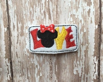 LOVE Minnie Mouse Felt Snap Hair Clippie Clip Babies Toddlers Girls
