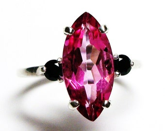 "Pink topaz, topaz ring, topaz accent ring, pink and black, 3 stone ring, anniversary ring, s 6 1/2 ""Suzy Q"""