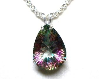 "Topaz, mystic topaz pendant,statement pendant, birthstone pendant,  pink green blue,  ""Over the Rainbow"""