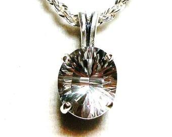 "Topaz, white topaz , topaz pendant, white wedding, anniversary, 18 sterling silver   ""Instant Delight"""
