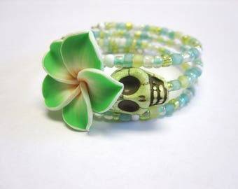 Green Sugar Skull Bracelet Day Of The Dead Wrap Cuff Hibiscus Flower
