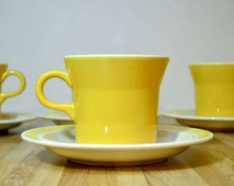 Vintage Royal Flat Cup and Saucer Set USA Pottery Margarita Pattern Yellow Band Complete Set of Four Ceramic China Coffee Mugs