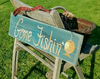 Gone fishing sign,outdoorsman gift,lake house decor,cabin decor,rustic home decor,fisherman gift,gifts for him,camping, outdoors,rustic wood