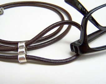 Best Seller, Eyeglass Lanyard, Brown or Black, Leather Cord, Eyeglass Loop, 26-36 inch, Eyeglass Holder, Eyeglass Necklace, Eyeglass Chain