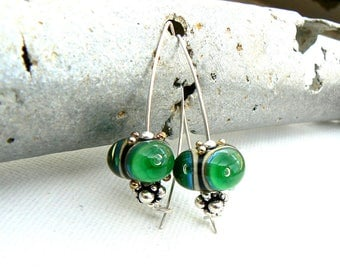 Handmade Green Lampwork Earrings,Lampwork and Sterling Silver Earrings