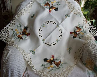 rooster and hen tablecloth, square tablecloth