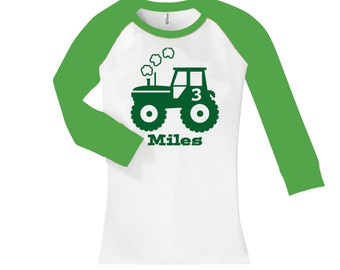 Personalized Tractor Birthday Shirt - cropped/long sleeve fitted raglan shirt - any age and name - pick your colors!