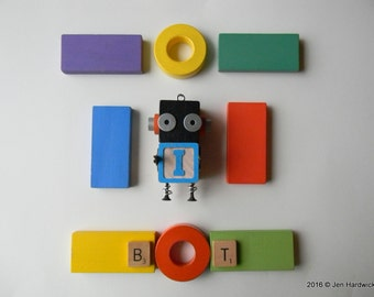 Robot Ornament - I Bot (Black/Blue) - Upcycled Ornament - Hanging Decor by Jen Hardwick