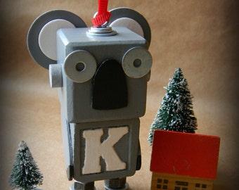 Robot Ornament - Koala Bot - K Bot - Upcycled Ornament - Hanging Decor by Jen Hardwick