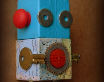 Robot Ornament - Map Bot (Red) - Upcycled Ornament - Hanging Decor by Jen Hardwick