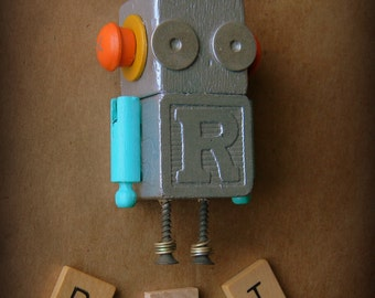 50% OFF - Robot Ornament - R Bot (Silver) - Upcycled Ornament - Hanging Decor by Jen Hardwick