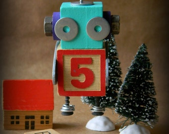 Robot Ornament - 5 Bot - Upcycled Ornament - Hanging Decor by Jen Hardwick