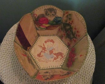 Antique Christmas Card Basket / 1920s Charming Pictures Spool Knitting Holder
