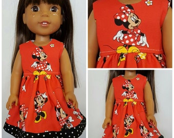 Minnie Mouse Red Dress for 14 and 18 inch Dolls
