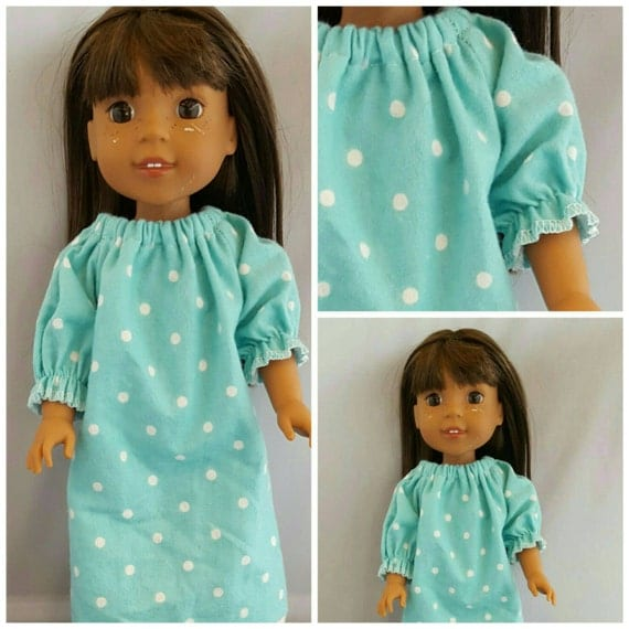 Blue and White Polka Dots Nightgown to fit Wellie Wisher Doll and Disney Toddler Doll