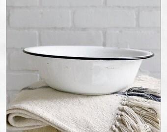 Vintage White Enamel Bowl