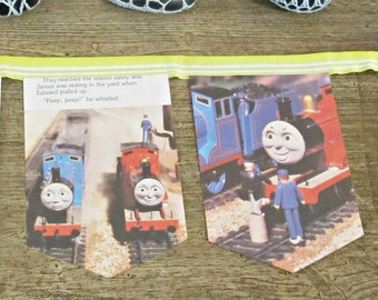Thomas the Tank Engine Bunting. James and the Troublesome Trucks Wall Hanging Trains Children Decor Garland Lime Green Book British Handmade