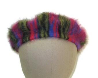 70s Angora Beret Angora Cap Ladies Vintage Hat 1970s Pink Green Tam Soft Knit Tam Pink Knit Beret Pink Green Hat