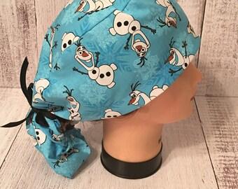 Olaf Snowman ponytail surgical scrub cap/ Olaf surgical scrub cap/ OR ponytail scrub cap/Nurses Surgical caps