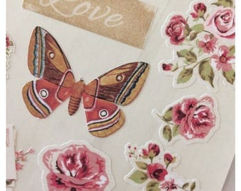 Vintage Floral Stickers for Scrapbooks, Journals, Cards, Crafts and more