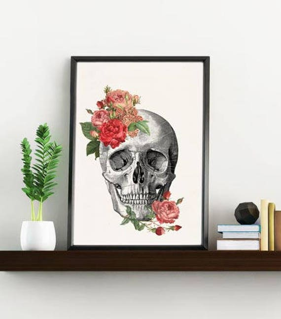 Springtime Roses Skull. Doctors gift Print- A4 Wall art Human anatomy print- Chic Science prints wall art flowers art, Skull print SKA134WA4