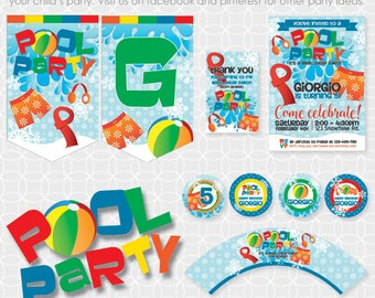 Party Printable Winter Pool Party Theme Basic Package - Personalized Printable - winter party, snowflakes, beach ball