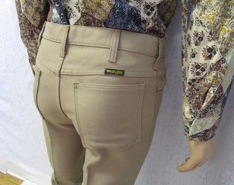 "70s 30"" x 32"" Wrangler Polyester Jeans Mens Flares PANTS Beige"