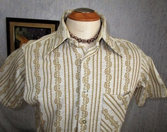 70s M Cotton Knit Men's S/S Shirt Ochre Mustard Yellow