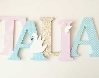 Wooden  letters for nursery in pink, soft teal and gold