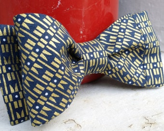 Gold and Navy Bow Tie