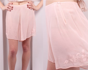 Vintage 1930's Baby Pink Silk Georgette Tap Pants • 30's Pink Embroidered Sheer Bloomers • Size S/M