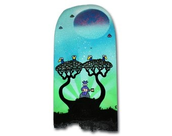 Entertaining Nature - Original Graffiti Skateboard Art - Unique Hand Painted Creature Street. Cute Recycled Skate
