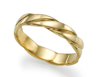 Plain 14K Yellow Gold Wedding Band , Braided Solid Yellow Gold Size 7.5 Plain Band Sizeable Bridal Jewelry