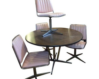 Pink Upholstered Chromecraft Set 4 Swivel Chairs & Faux Wood Top and Chrome Table