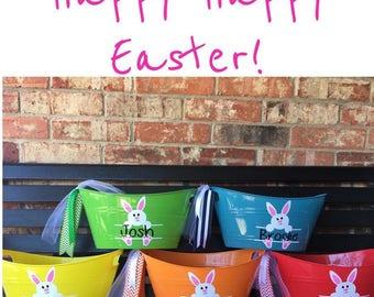 Personalized Easter Basket - Easter - Children's Easter Pail - Easter Bunny - Easter Tub - Egg Hunting - Easter Egg Hunt
