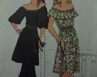 PEASANT DRESS Pattern • Simplicity 7483 • Miss 8 • Gypsy Tunic & Pants • Off Shoulder • Sewing Patterns • Vintage Patterns • WhiletheCatNaps