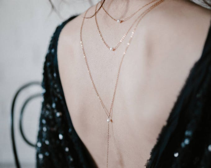 NEW! Astraea necklace - pearl cristal dangling back drop necklace  - quartz gold plated 18k - boyish chanel 1920s - bridal necklace