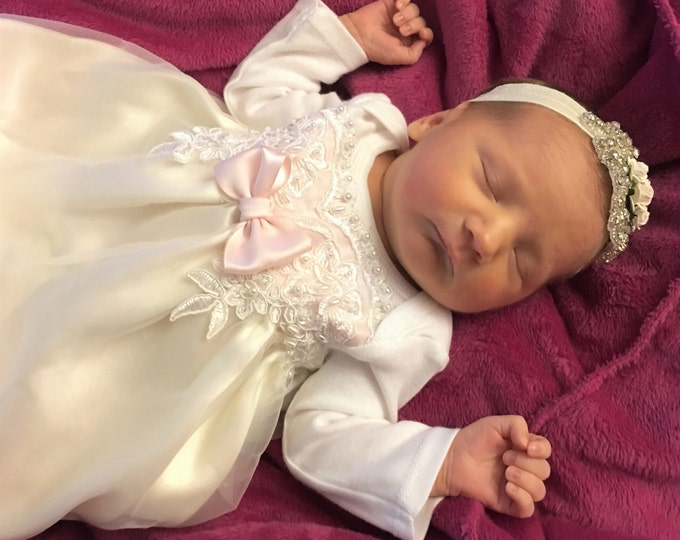 Newborn Girl Vintage lace custom Take me home gown