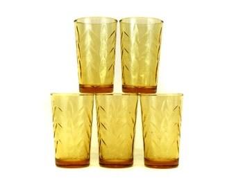 Vintage Small Amber Juice Glasses w/Pressed Leaf Pattern, Set of 5 (E4231)